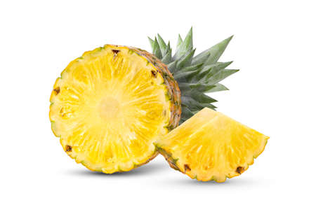 pineapple with slices isolated on white background Фото со стока