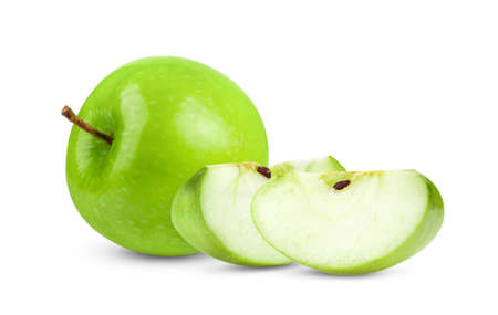 Fresh Green Apple Isolated on white background in Full depth of field