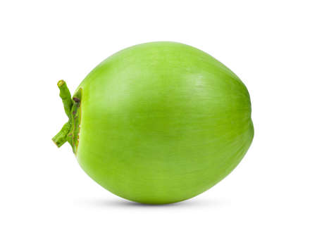 Green young coconut isolated on white background Imagens