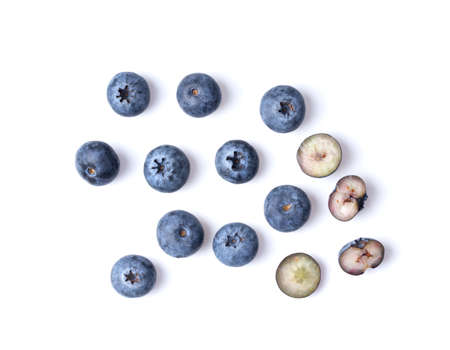 blueberries isolated on white background top view