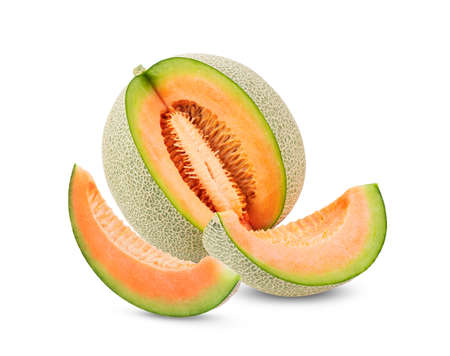 melon with slice isolated on white background