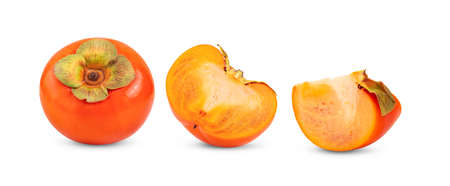ripe persimmons isolated on white background Foto de archivo