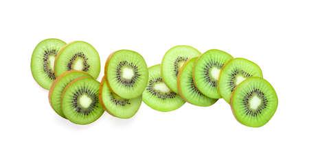 Slice of kiwi fruit isolated on white background