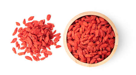 goji berries isolated on white background top view
