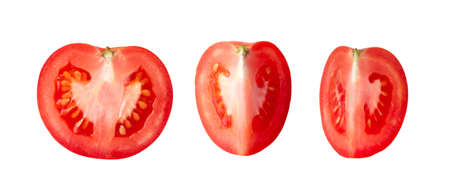 Fresh tomatoes on white background. Top view Foto de archivo