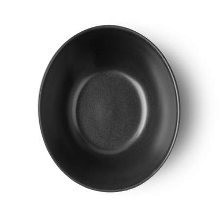 black bowl isolated on white background top view Foto de archivo