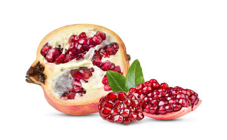 ripe pomegranate isolated on wite background