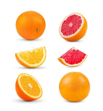 set of orange and grapefruit  isolated on white background