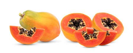 ripe papaya fruit isolated on white background full depth of field