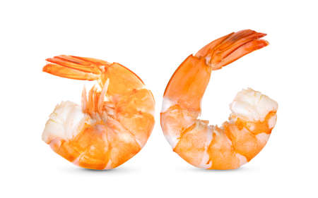 Cooked shrimps isolated on white background.