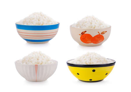 Cooked  Rice in ceramic  bowl on white background