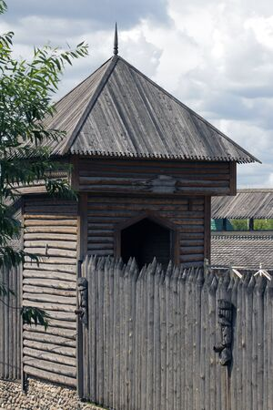 stockade: The wooden tower and the wall of the stockade wooden Kremlin Izmailovo