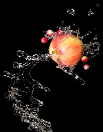 Apple with water drops and cranberries on a black background