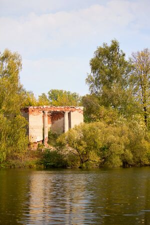 outbuilding: The ruins of manor outbuilding Gorenki coming out to the river Stock Photo