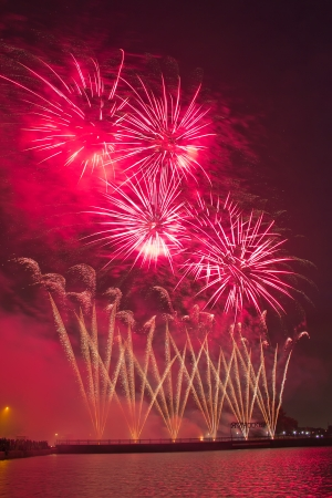 International Fireworks Festival, a colorful show on VEShNJaKOVSKAJa street in Moscow photo