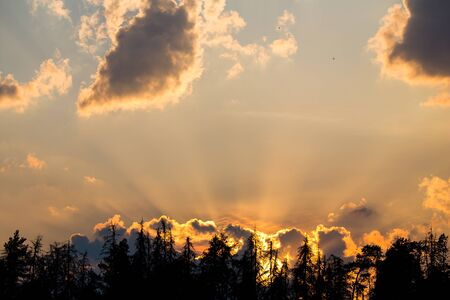 penetrated: Clouds in the light of the setting sun its rays penetrated Stock Photo