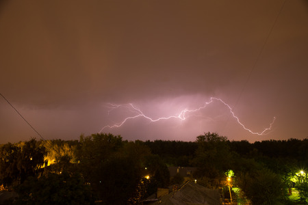 city pushkin: Night thunderstorm over the city