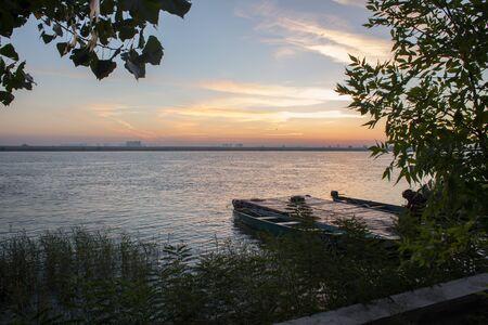 volga: Bright sunrise over the delta of the Volga River