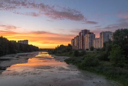 Summer Landscape, Sunset on Pekhorka on Zarechnaya Street, Balashikha