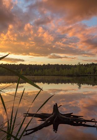 Старая ловушка на воде озера против прекрасного заката