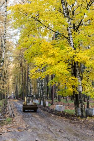 Balashikha, Russia - October 13, 2017: Work on the improvement of the city park Редакционное