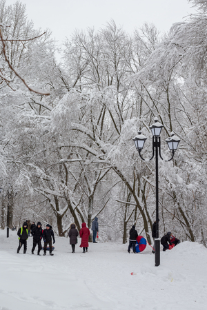 Balashikha, Moscow region, Russia - February 04: People walk on the street after a heavy snowfall in Moscow and the Moscow region