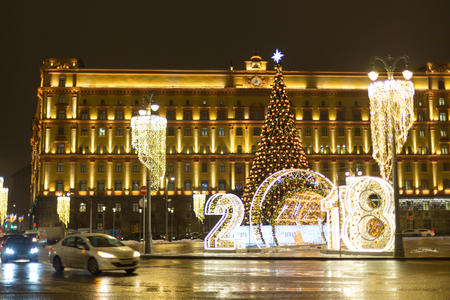 Moscow, Russia - December 19, 2018: New Years lighting and decorations of Lubyanka Square in Moscow