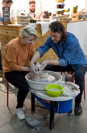 Moscow, Russia - April 08 2018: A master class on potters craft at a ceramics festival 4Ceramics at the Flakon Design plant