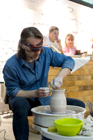 Moscow, Russia - April 08 2018: A master class on potters craft at a ceramics festival 4Ceramics at the Flakon Design plant