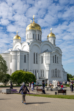 Diveevo, Nizhny Novgorod region, Russia - June 11, 2018: Pilgrims in the Holy Trinity Seraphim-Diveevo Convent
