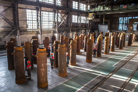 Vyksa, the Nizhny Novgorod Region, Russia - June 09, 2018: Passions on an open-hearth furnace at the Artovrag festival, Vyksa Steel Works the shop with the last martin furnace in Russia