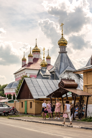 Byvalino, the Pavlovo-posadsky area, the Moscow region, Russia - July 15, 2018: Events at about XIII  Byvalinsky Festival of Forge Art, Temple of the Saint Great martyr Nikita Редакционное