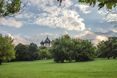 Summer landscape in the estate Izmailovo, Cathedral of the Intercession of the Theotokos