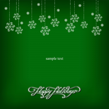 xmas, green background with snowflakes Vector