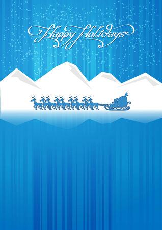 mountains, santa claus, deer, north, northern lights Vector