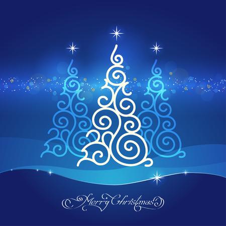 felicitation: stylized white ornamental christmas tree on blue background