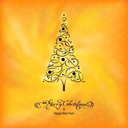felicitation: stylized ornamental christmas tree on yellow background
