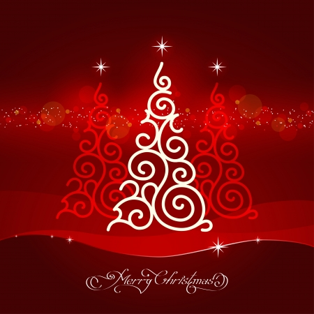 stylized white ornamental christmas tree on red background