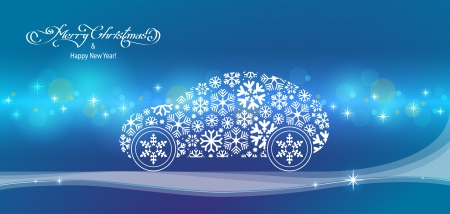 horizontal blue merry christmas landscape with snowflakes car Vector