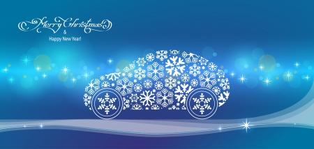 felicitation: horizontal blue merry christmas landscape with snowflakes car Illustration