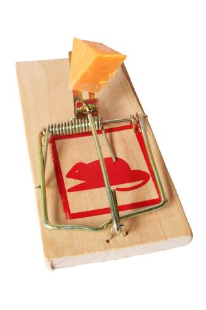 Isolated wooden mousetrap with cheese bait; includes clipping path