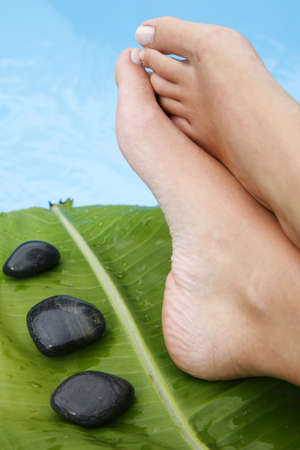 Womans feet by blue pool with pebbles and tropical leaf Stock Photo
