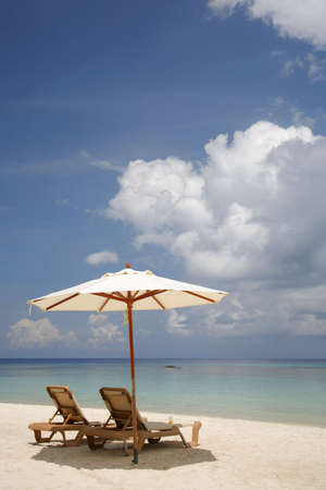 lounger: Nice vacation picture with parasol on the beach