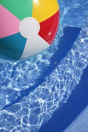 Multicolored Beachball in a beautiful blue swimming pool
