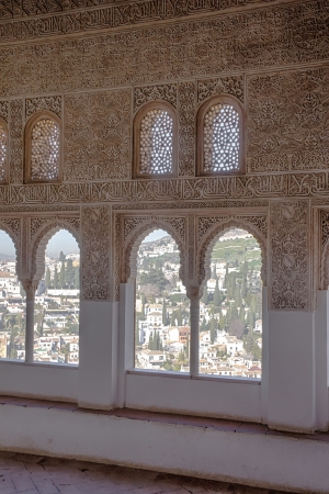A moorish window in the Alhambra Palace photo