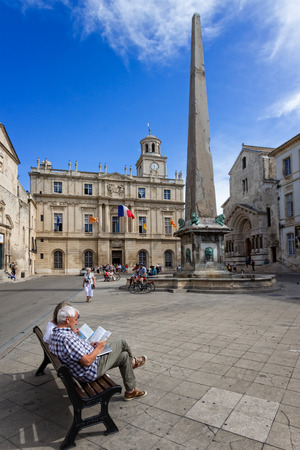 arles: The Arles Obelisk is a 4th-century Roman obelisk, erected in the center of the Place de la Republique, in front of the town hall of Arles, France. Editorial