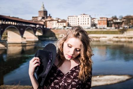 Portrait near the Old Bridge in Pavia Stock Photo