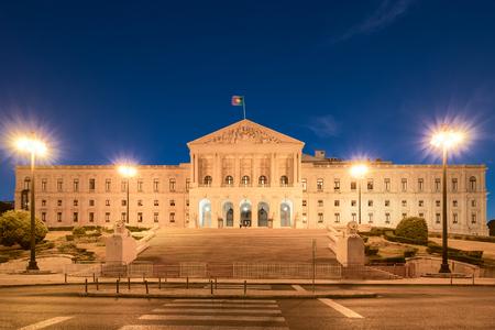 A night view of Portuguese Parliament in Lisbon 版權商用圖片