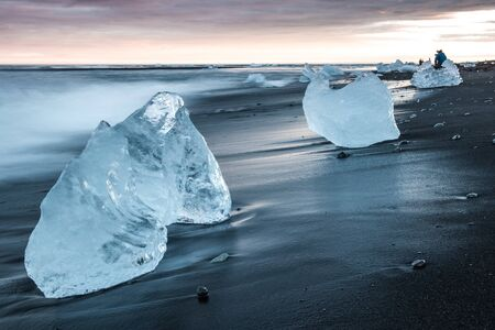 Ice sculptures on beach of jokulsarion before washing out to sea