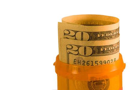Money in a pill bottle
